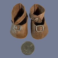 Old Doll Leather Shoes W/ Buckles Sweet
