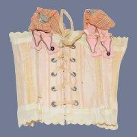 Antique Doll Silk Lace Up Corset W/ Garter Belt Fashion Doll