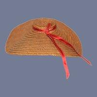 Vintage Straw Doll Bonnet Wide Brim Fashion Doll Hat