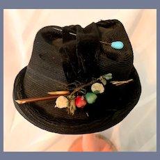 Vintage Doll Bonnet Hat Straw Type W/ Fruit and Velvet