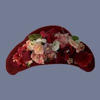 Wonderful Doll Bonnet Fancy By Janice Milliner Tilted Brim Fancy Bows in Back W/ Tag