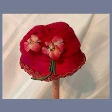 Vintage Charming Doll Hat Bonnet Pink Fancy Trim W/ Flowers