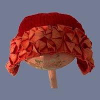 Sweet Fancy Knit Bonnet With Fancy Trim Charming