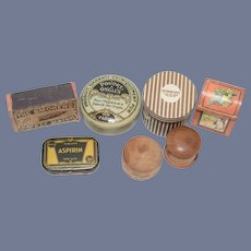 Sweet Set of Miniature Dol Boxes Hat Box Tin Wood All Different Mixed Lot Old & Artist Henri Bendel