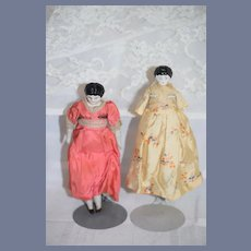 Antique Doll Set Sisters Petite Miniature Dollhouse Dressed