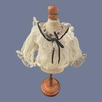 Wonderful Doll Blouse Lace Netting W/ Black velvet Trim Fashion Doll