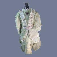 Sweet Doll Vintage Fashion Doll Dress Chiffon over Silk W/ Pendant