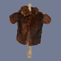 Small Brown  Fur Doll Coat Jacket  with Cloth Leaf Print Lined