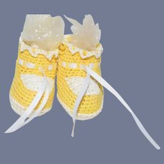 Yellow and White Knit Doll Booties Shoes