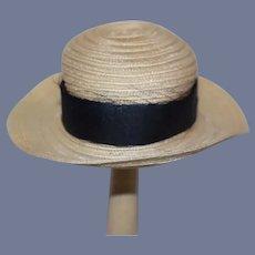Circular Straw Type Doll Hat with Big Blue Ribbon