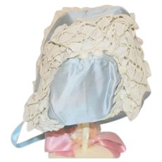 Stunning Blue Cloth and White Eyelet Doll Bonnet with Scalloped Edge