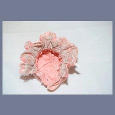 Little Pink Cloth Doll Bonnet with Lace Trim