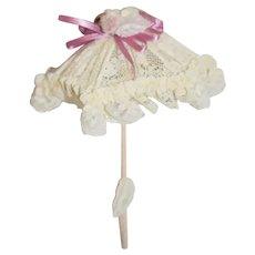 Miniature White Lace Doll Umbrella with Purple Ribbon Parasol