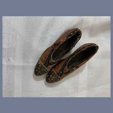 Antique Unusual Leather Wood Doll Shoes Fashion Doll