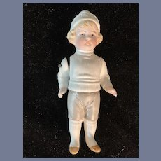 Antique Petite All Bisque Boy Doll Jointed Arms Adorable Miniature Dollhouse