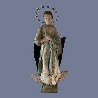 "Virgin Mary Santos Creche Wood Gesso Glass Eyes  HUGE 36"" Tall Doll Figure Religious Neapolitan Statuary"
