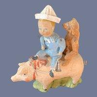 Debbee Thibault's American Collection Artist Piggy Back Rides Sailor Boy W/ Teddy Bear Signed Doll Figure