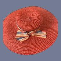 Vintage Doll Straw Bonnet Wide Brim Fashion Doll