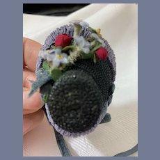 Sweet Miniature Straw Doll Bonnet Artist Made Wonderful