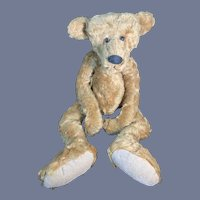 Vintage Teddy Bear Artist Mohair Bearly There Linda Spiegel W/ Tag Mr. Everything