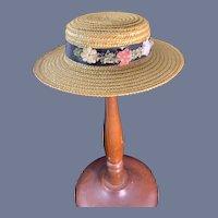 Wonderful Straw Doll Bonnet W/ Ribbon Flowers