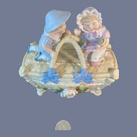 Wonderful Piano Baby Doll Figurine Two Figures Girl holding Doll on Top of Basket Trinket Box Conta Boehme