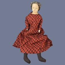 Antique Doll Papier Mache W/ Paper Label GL Dressed