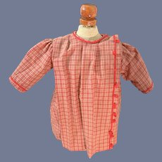 Old Doll Dress Plaid Sweet Fancy Red Trim Adorable