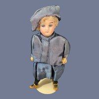 Antique Miniature Bisque Doll Fancy Clothing Dollhouse Doll French Market