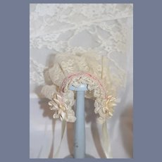 Sweet Hand Made Lace Doll Bonnet