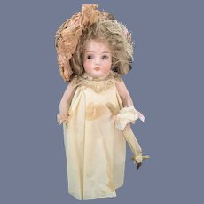 Antique Doll Bisque Miniature Glass Eyes Parasol Dollhouse Fancy Candy Container Crepe Paper Clothing