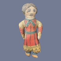 Antique Printed Cloth Doll Sweet Petite Size Unusual