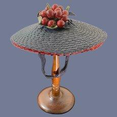 Old Doll Straw Hat Wide Bonnet W/ Fruit Adorable