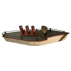 Old Wood Ship W/ Brass Wheels Solid Steamboat Early 1900's Pull Toy For Doll Display Nautical