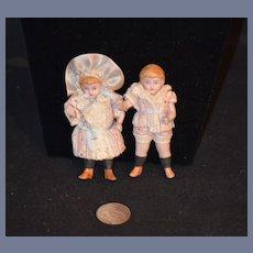 Antique Miniature China Head Bisque Dolls Dollhouse Twins Boy Girl DRESSED