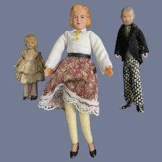 Old Miniature Set of Dollhouse Doll Dolls Celluloid W/ Metal Feet & Miniature Bisque