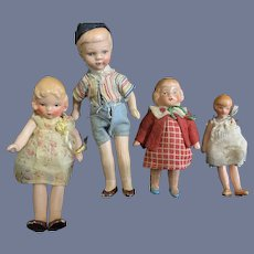 Vintage Miniature Painted Bisque Jointed Dollhouse Doll Set Four Dolls Dressed Original Clothes