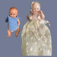 Vintage Celluloid Miniature Babies TWO Dolls