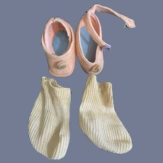 Vintage Pair of Pink Felt Doll Shoes and Old White Knit Socks Sweet