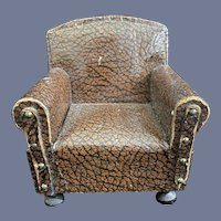 Old German Arm Chair Unusual Detailed Wood  with Wood ball feet Faux Leather Naile Head