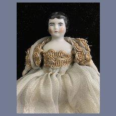 Antique Miniature China Head Dollhouse Dressed Sweet