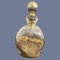 Sweet Miniature Glass Bottle Gold Flecks Doll Vanity Perfume