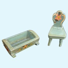 """Vintage Miniature """"Tiny"""" Painted Wood Furntiure Bed Chair Tole Painted"""