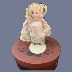 Antique All Bisque Miniature French Market Dollhouse Fancy Boots Closed Mouth