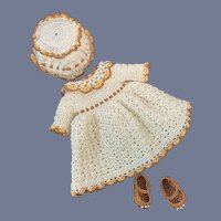 Sweet Three Piece Doll Crochet Set Hat Shoes Dress Petite Doll French Market