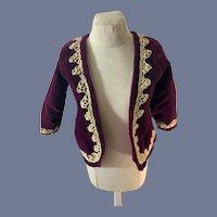 Vintage Doll Velvet Lace Trim Jacket Coat French Market