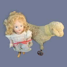 Vintage Doll Lamb Pull Toy Petite Size Artist Made Metal Wheels