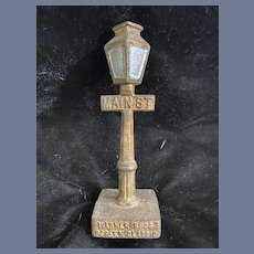 Old Miniature Doll Warner Bros Screen Classic Miniature Main St. Lamp Post Street Sign Cast Iron