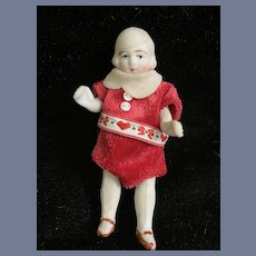 Antique Miniature All Bisque Figurine with Jointed Arms and Legs