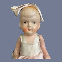 Old Painted Bisque Doll Jointed Loop in Head For Bow Sweet Doll Flapper Body